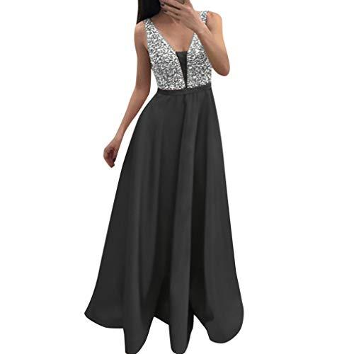 Damen Pailletten Kleid Rock Mode v-Ausschnitt hohe Taille sexy dünne Ärmellos Lange Dance Party Cocktail Abendkleid Sonojie