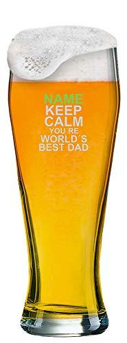 Weizenglas mit [Name] als individuelle Gravur zum Vatertag - Auswahl aus 6 Motiven + Wunschname Ihrer Wahl auf 0,5 l Weißbierglas graviert. (Motiv 06)