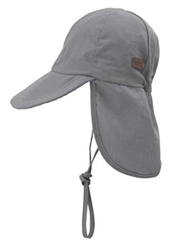 Melton Jungen Sommerhut mit Schirm und Nackenschutz UV 30+, Uni Kappe, Grau (Light Grey 132), 55