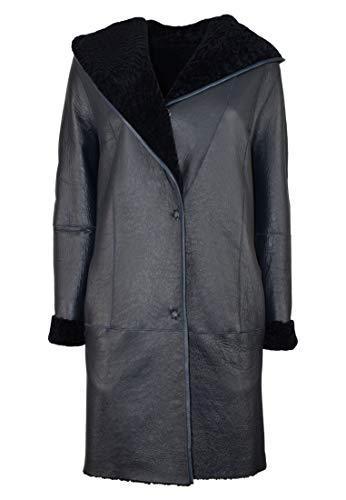 COCO BLACK LABEL since1986 Damen Lammfell Mantel Wendemantel mit Kapuze Stella, Farbe:Blau, Größe:36