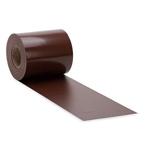 NOOR Zaunblende PVC Blickdicht 630 g/m2 Braun I 0,19 x 35 m I Der ideale Sichtschutz für Ihren Doppelstabmattenzaun I Sichtschutzstreifen in vielen Farben I Witterungsbeständig