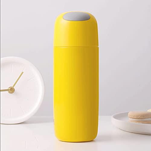 QHLOM Botella De Agua Aislada Al Vacío Botella De Agua Aislada Térmica 316 Acero Inoxidable Grande Capacidad 450 Ml 15.2 OZ TERMOS (Color : Yellow)
