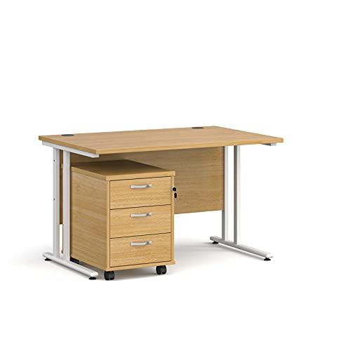 Maestro - Juego de 25 escritorios, 800 mm de profundidad, recto, pedestal móvil con 2 cajones, patas voladizas, color roble, 120 cm