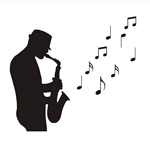 zwyluck 3D-muursticker, motief: saxofon, afneembaar, muzieknoot, decoratie voor thuis, tattoos, woonkamer, decoratie, 31 x 44 cm