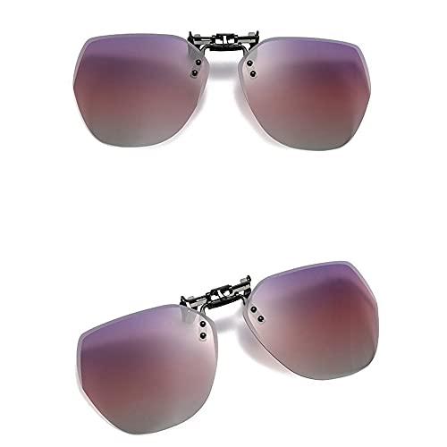 terg 2021 Nuevos Gafas de Sol de Flip-up Clip polarizado, Clip de Gafas de Sol de Macho y Masculina sin Marco, UV 400 Moda, cómoda para Usar, Adecuado para Viajes al Aire Libre (Color : Pink)