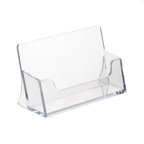 10 Stück Visitenkartenhalter/Visitenkartenständer im Querformat transparent - Zeigis®