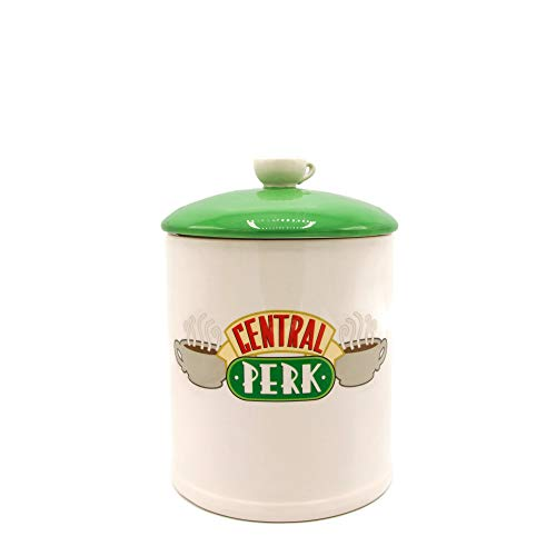 Silver Buffalo FRD201EG Friends Central Perk Logo Ceramic Cookie Jar, Large, White/Green