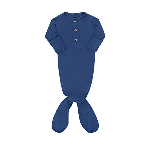 ELIVIA & CO. Knotted Gown Newborn Baby Gowns Baby Boy Clothes or Girl - Baby items Newborn Onesies Baby Sleeper (Indigo)
