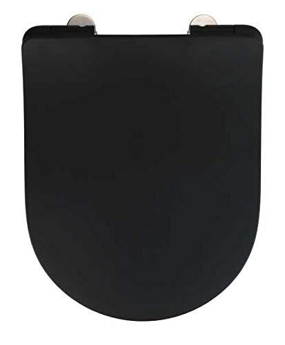 WENKO WC-Sitz Sedilo matt Schwarz, flacher Toilettensitz mit Absenkautomatik, hygienischer WC-Deckel mit Fix-Clip Befestigung, aus antibakteriellem Duroplast