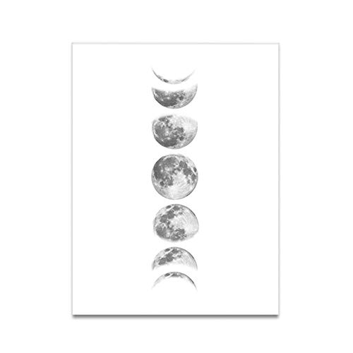 Fazy księżyca Malowanie bezramowe Rdzeń obrazu na ścianie Sztuka zaćmienie księżyca Zmiana księżyca na dekoracje domu Dekoracja salonu (090-1-biały)