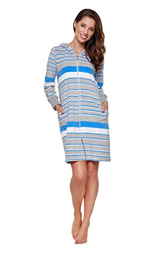 DOROTA kuscheliger und moderner Baumwoll-Bademantel mit Reißverschluss und Kapuze oder mit zusätzlichem Bindegürtel, blau-gestreift mit Kapuze, Gr. XL (42)