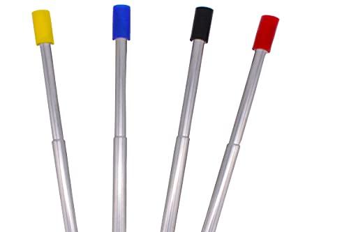 Qindalo - Cannucce riutilizzabili pieghevoli. Confezione da 4 cannucce con beccucci in silicone e spazzola di pulizia. Colore: nero, rosso, oro e blu.
