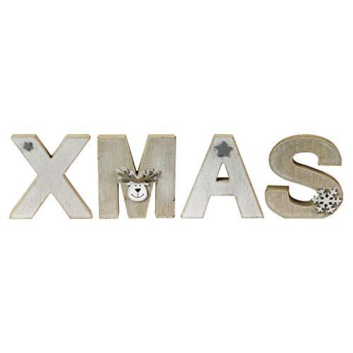 Mojawo XXL Holz Buchstaben Set Schriftzug Weihnachten Xmas Shabby Deko Natur Weiß H12xL44cm