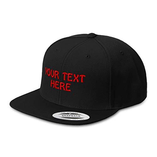 Snapback Hats for Men & Women Custom Personalized Text Acrylic Flat Bill Baseball Cap Snapback Black One Size