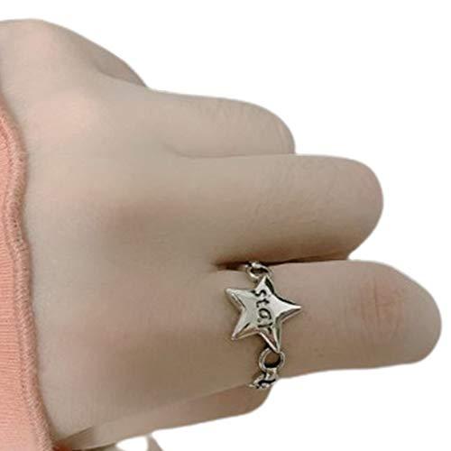 Rouku Anillo Cadena Vintage Anillo Doble Plata de Ley Anillo de Dedo índice Personalizado Anillo Abierto para Mujer (Plata)