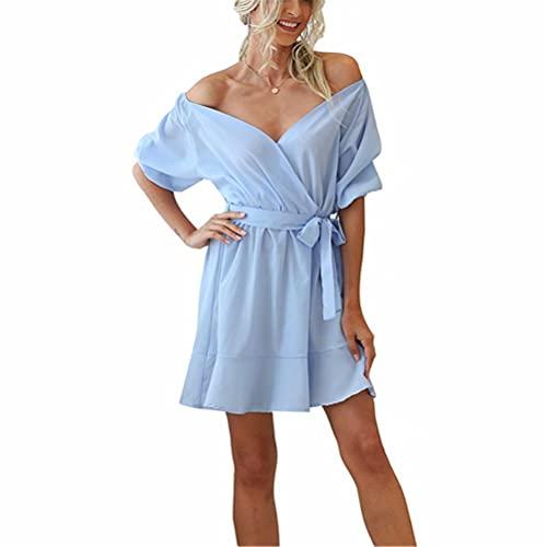 LYAZFC Falda de una Pieza con Cuello en V y Cintura de Color sólido de Verano para Mujer