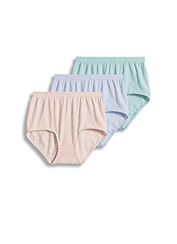 Jockey Women's Underwear Comfies Cotton Brief - 3 Pack, Teal Blue/Periwinkle/Peach Rose, 9