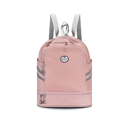 Hua angel Drawstring Backpack Bag-Dry & Wet Separation Gym Bag Sackpack Sports Backpack with Shoe Compartment Storage Daypack Bag for Hiking Yoga Gym Swimming Travel Beach