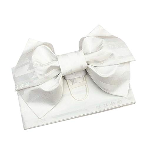 Japanese Traditional Pre-Tied OBI Belt Sakura Jacquard Weave Bow Tsukuri OBI Kimono Sash Yukata Robe Accessories (White)