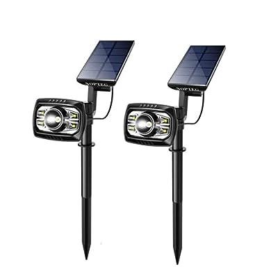 NOPTEG Upgraded Solar Lights 4+1 LED Waterproof Outdoor Landscape Lighting Spotlight Wall Light Auto On/Off Yard Garden Driveway Pathway Pool, Pack of 2