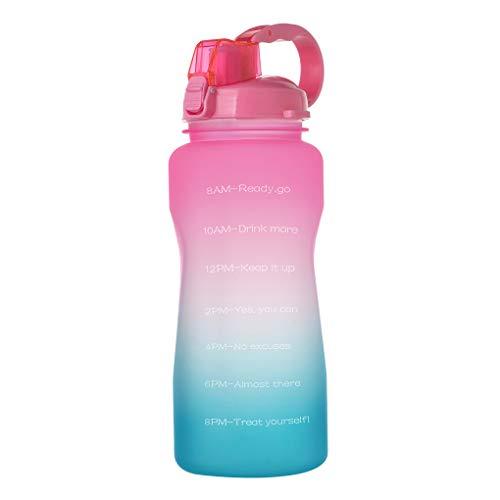 shunbang yuan Sport-Wasserflasche 2000ml Outdoor-Trinkflasche Flasche im Freien Strohhalm tragbare Reise Teetasse, Rosa auf Grün