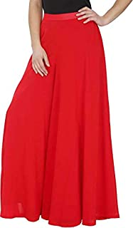 """Calvus Women's Stretchable Plain Casual Wear Palazzo Pant (Red, Free Size, Waist: 26"""" to 34"""")"""