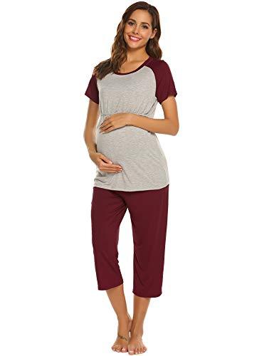 Unibelle Pijama de maternidad para mujer, de algodón, cuello en V, talla L, color burdeos