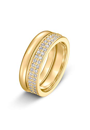 JETTE Silver Damen-Damenring 925er Silber 55 Gold 32010181