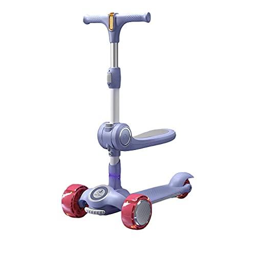N\C ZSCC 3-12 años para niños 3 Altura Ajustable hasta 3 Ruedas Scooter para niños niñas Regalos Kickboard (Color: Morado)