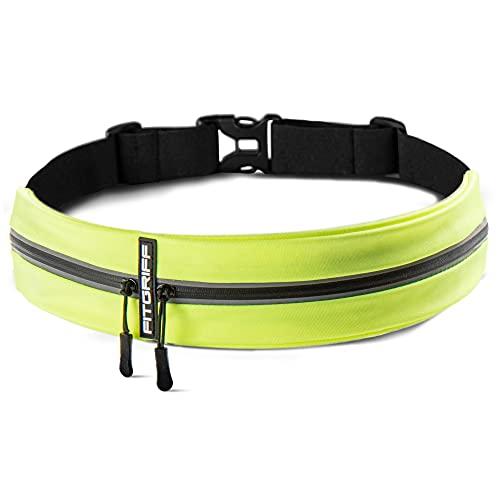 Fitgriff® Laufgürtel für Handy - Sportgürtel, Fitnessgürtel, Lauftasche, Running Belt, Hüfttasche für Jogging, Laufen, Sport, Fitness - passend für alle Smartphones (Neon)