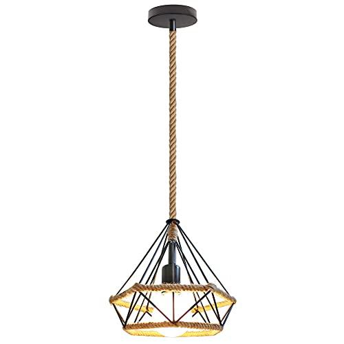 Lampada da soffitto retrò, stile industriale, in corda di canapa, 24 x 25 cm, adatta per soggiorno,...