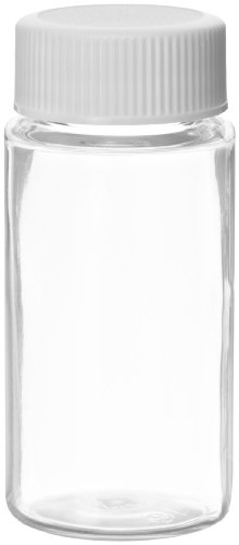 Wheaton 986751 PET 20mL Liquid Scintillation Vial, with Polypropylene Metal Foil Lined Screw Cap Packaged Separately (Case of 500)