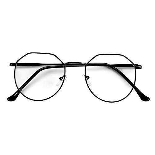 ITODA Brille Blaulichtfilter Computerbrille Retro Brillenfassungen Damen Herren Nerdbrille Klassisch Dekobrille Ohne Stärke Lesebrille Metall Streberbrille mit Brillenetui Pantobrille für PC Handy