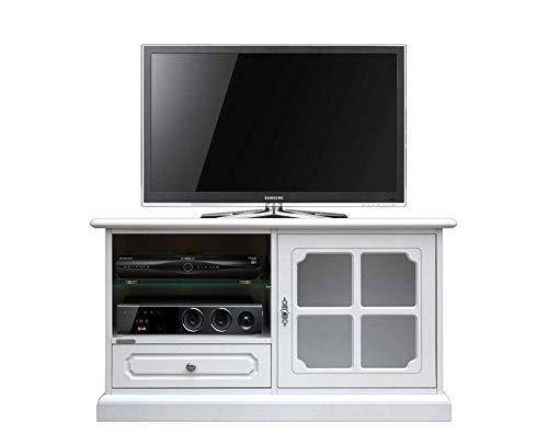 Arteferretto Kleiner TV-Schrank in Weiß, 1 Tür/1 Schubfach/2 Fächer, Holzstruktur, TV-Möbel Wohnzimmer, MONTIERT, B106 x H60 x T40 cm