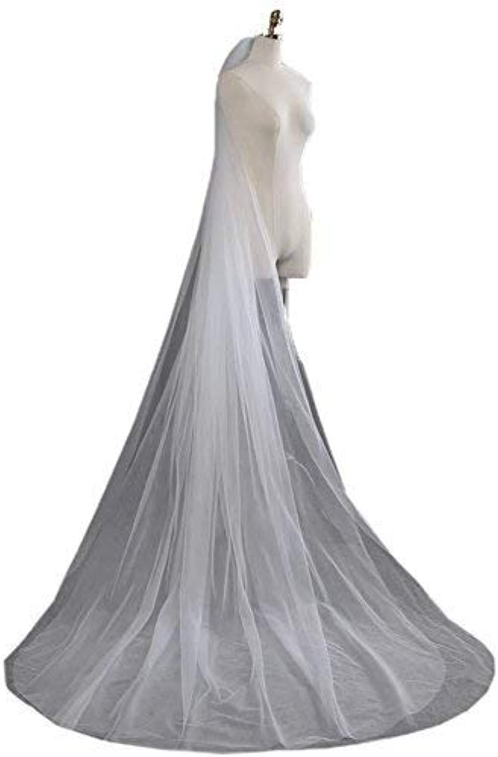 Sunny zeyu 3m Trailing Long Wedding Veil For Brides Cut Edge With Comb