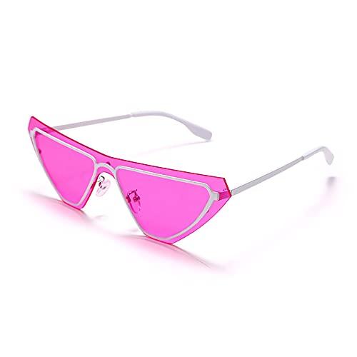 QWKLNRA Gafas De Sol para Hombre Marco Negro Lente Morada Polarizado Deportes Gafas De Sol Steampunk Cat Eye Gafas De Sol Mujeres Gafas De Sol Sin Bordes Uv400 Gafas Sombras Accesorio De Moda