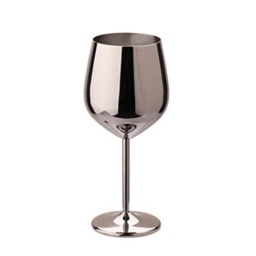DSFSAEG Copas de vino de acero inoxidable, 500 ml de acero inoxidable irrompibles copas de vino para fiestas en interiores y exteriores (negro)