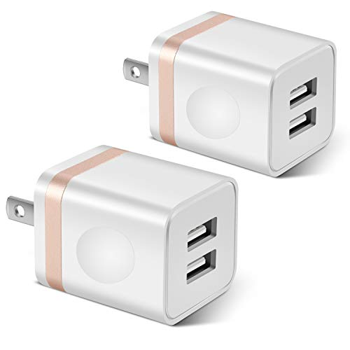 STELECH USB Wall Charger, 2-Pack 2.1A/5V Dual Port USB Plug Power Adapter Charger Block Cube Compatible with Phone Xs Max/Xs/XR/X/8/7/6 Plus/SE/5S/4S, Samsung, LG, Moto, Kindle, Android Phone -White