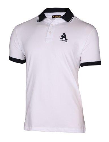 A-Style Polo avec Logo, Blanc, M