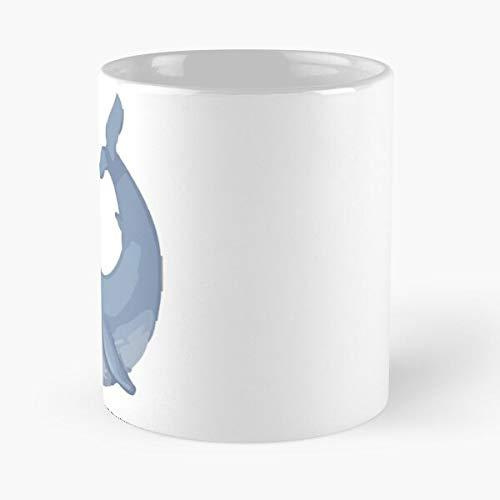 Whale Emoji – Taza de café de cerámica de mármol blanco