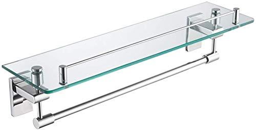 Fuerte estante de vidrio de una sola capa de baño de maquillaje estante de montaje en pared de baño estante de acero inoxidable estante de ducha sala de baño accesorios