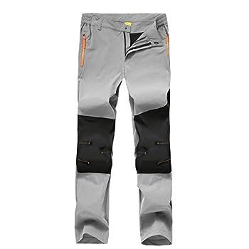 Rapoo Men s Outdoor Waterproof Hiking Pants with Zipper Pockets Quick-Dry Lightweight Camping Mountain Pants for Men Light Grey,32