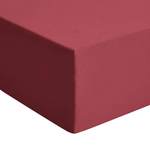 AmazonBasics jersey premium hoeslaken, rood - 150 x 200 cm, king