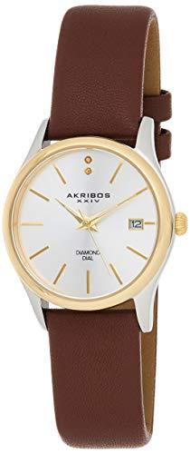 Akribos XXIV AK879BR Orologio da Polso al Quarzo, Analogico, Donna, Pelle,...