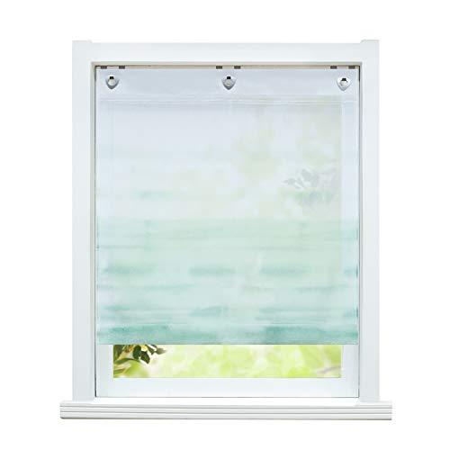 ESLIR Estor sin agujeros, cortina con ojales, transparente, con ganchos en U, voile, degradado, verde, 100 x 140 cm, 1 pieza