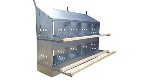 8 HOLE HEAVY DUTY 23ga GALVANIZED CHICKEN NESTING LAYING ROOST BOX MADE IN GERMANY | High front and back panels | Easy to remove and clean | Heavy duty perches hinged upward | Rust resistant 0300113
