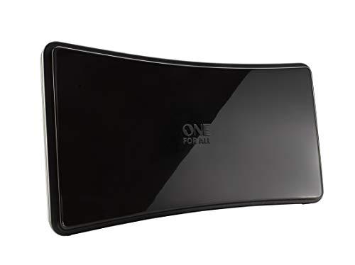 One For All DVB-T/DVB-T2 Indoor/Zimmerantenne – Full HD/HDTV Fernseher TV Antenne mit Verstärker - 0-15 km Reichweite – 1.5 meter Koaxialkabel - UHF/VHF - Schwarz - SV9420