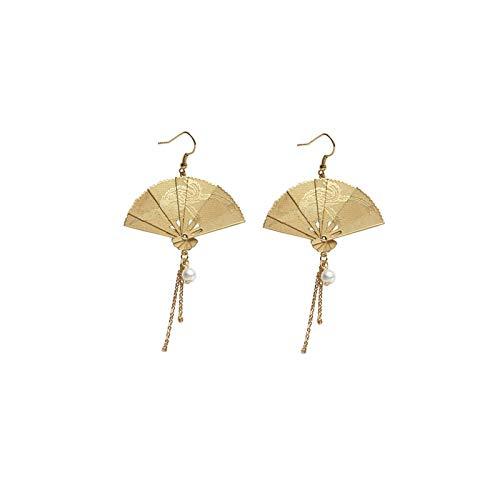 Ohrringe im chinesischen Stil, kreative, fächerförmige, verhindern Allergie-Ohrhaken Exquisit, für Cheongsam- und Hanfu-Accessoires für Frauen und tägliche Dekoration.