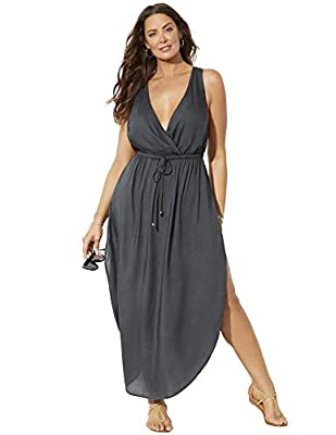 Swimsuits For All Women's Plus Size Tenley Surplice Cover Up Maxi Dress 22/24 Anchor