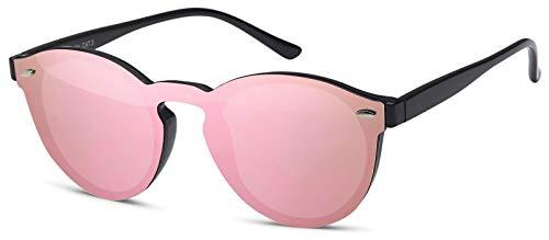 styleBREAKER gafas de sol con un solo cristal con lentes planas y patillas de plástico, lentes redondas, unisex 09020081, color:Armazón negro/cristal rosa espejado
